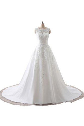 Gorgeous Bride Elegant Brautkleider Lang Spitze Satin A-Linie Mit Abnehmbar Schleppe Hochzeitskleider -36 Style C-Elfenbein