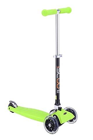 iScoot © Pro Mini Tilt Kickboard Mini T-Bar 3 Wheel Kick Scooter Bobbi Board for Boys / Girls / Children with LED Wheels - Green