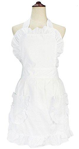lilments Damen Rüsche Outline Retro Schürze Küche Kuchen Backen Kochen Cleaning Maid Kostüm Mit Taschen weiß (Unten Rüschen)