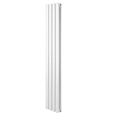 ReaseJoy Vertical Column Designer Radiator 1600x236mm 4 White Oval Double Flate Panel Heater Bathroom Central Heating