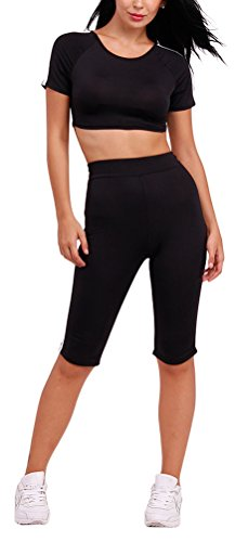 sunifsnow-t-shirt-de-sport-pull-uni-manches-courtes-femme-noir-l