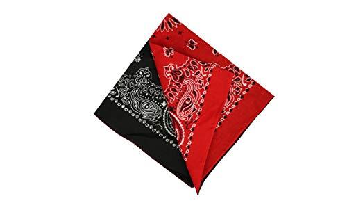 ey Bandana Halstuch 55 x 55 cm Kopftuch Armtuch Mis-chfarben Haar, Hals, Kopf Schal Nickituch Vierecktuch fur Damen und Jungen Pink Fabre (2 Shaded Black & Red) ()