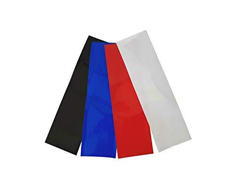 netproshop Akku Schrumpfschlauch 50mm Flachmaß = 32mm Durchmesser (4 Meter), Farbe:schw/rot/blau/weiß je 1m