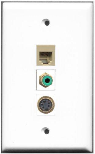 RiteAV-1RCA RJ11, RJ12und 1Port, grün, beige und 1Port S-Video-Wanddose -