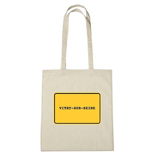 JOllify Vitry di Triel-sur-Seine Borsa di cotone b3385 schwarz: New York, London, Paris, Tokyo natur: Ortsschild