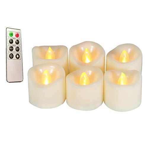 Erosway Velas LED, Velas eléctricas realistas parpadeantes con Pilas, 300 Horas de Funcionamiento sin interrupción con Temporizador de 2/4/6/8 Horas y Control Remoto, 6 Velas