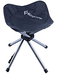 Kingcamp–Taburete plegable Camping–46* 34* 34cm–Estructura en acero y textil impermeable–carga hasta 100kg–Bolsa de transporte incluido–color azul