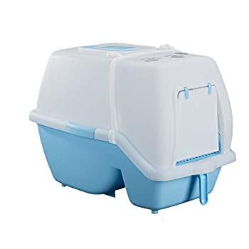 Wcx Bac à litière pour Chat avec Capuchon/Rabat/poignée Boîte à bac à litière à Capuchon Grande Toilette intérieure pour Chiot Loo fermée (Couleur : Bleu)