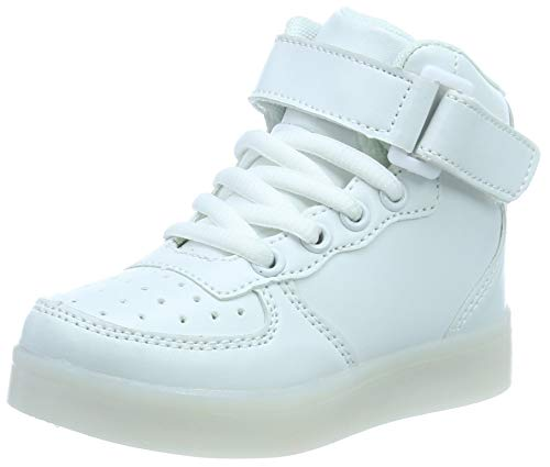 FLARUT Hoch Oben USB Aufladen LED Leuchtend Leuchtschuhe Blinkschuhe Sport Schuhe für Jungen Mädchen Kinder, Weiß, 32 EU