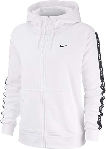 Nike Damen Full Zip Logo Tape Hoodie, White/Black, M (Nike Damen Sweatshirt Weiß)