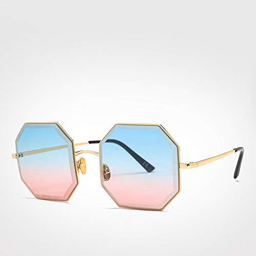 LXXSSRA Sonnenbrille Marke Vintage Octagon Sonnenbrille Männer Frauen Rote Brille Retro Polygone Sonnenbrille Frauen Uv400 Braun Sonnenbrille