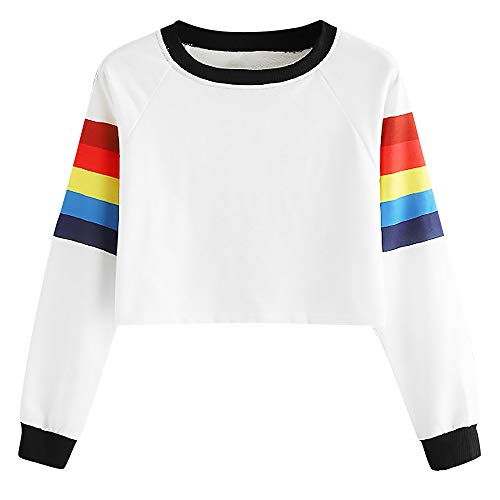 TWBB Damen Mantel,Herbst Winter Regenbogen Slim-Fit Kurz Pullover Sweatshirt Outwear