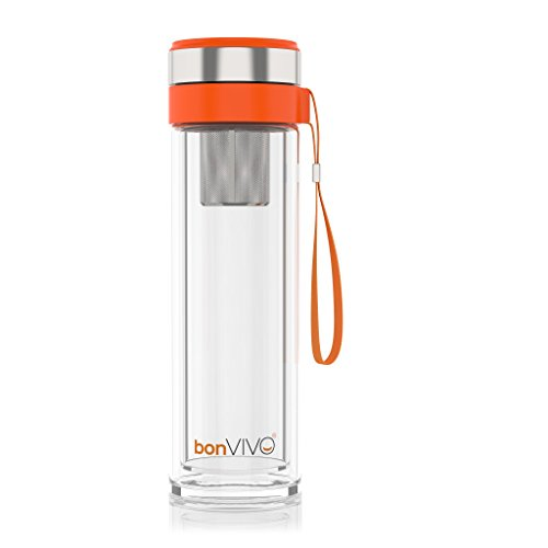bonvivor-vitalitea-glas-trinkflasche-mit-thermo-funktion-und-tea-filter-045-liter-in-orange