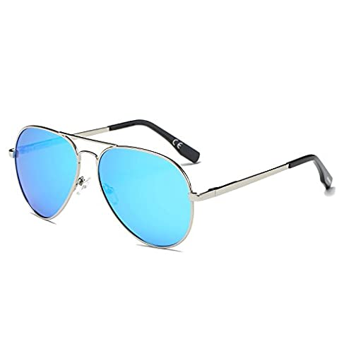 AMZTM Classic Retro Double Bridge Metal Frame Driving Glasses Mirrored Reflective REVO Polarized Lens Aviator Women and Men Sunglasses (Silver Frame Ice Blue Lens, 62)