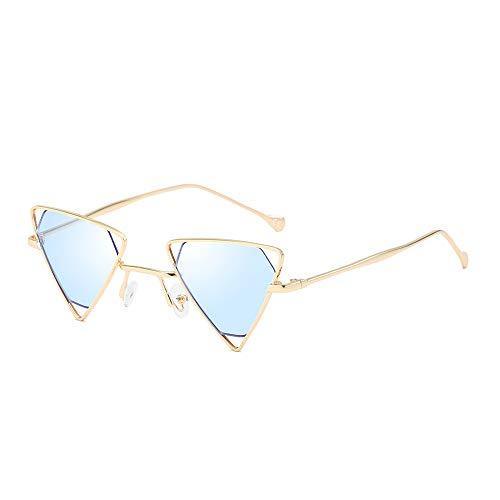 AMZTM Steampunk Sonnenbrille für Damen Herren Hohle Metall Rahmen Kleine Dreieck Brille Mode Punk Stil Vintage Retro Brillen, UV 400 Schutz (Gold Rahmen Klar Blaue Linse)