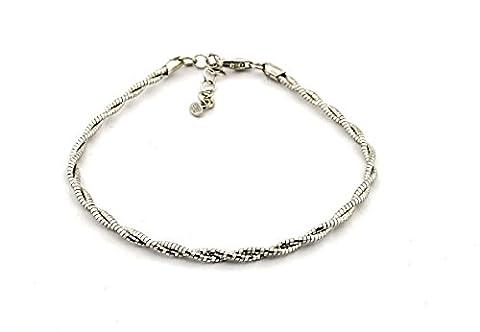 Armband Doppelstrang geflochten Sterling Silber 925hypoallergen vergoldet weiß Länge 18cm verstellbar 21hypoallergen