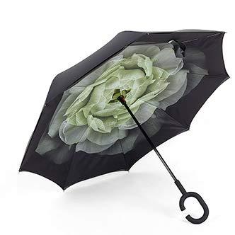 Double-Layer C- Typ Reverse Umbrella Regenschirm Plastiktüte Rippe Regenschirm Starken Wind-Typ Gardenia 60Cmx8K -