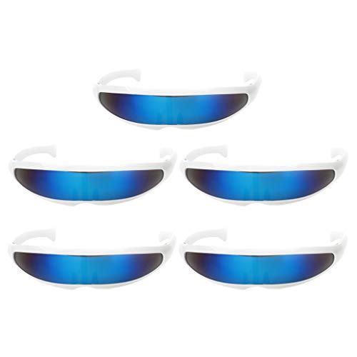 Baoblaze 5er Set Blau Futuristische Brille Sonnenbrille Lustige Partbrille Spaßbrille Cosplay Kostüm - Cyborg Kostüm Zubehör