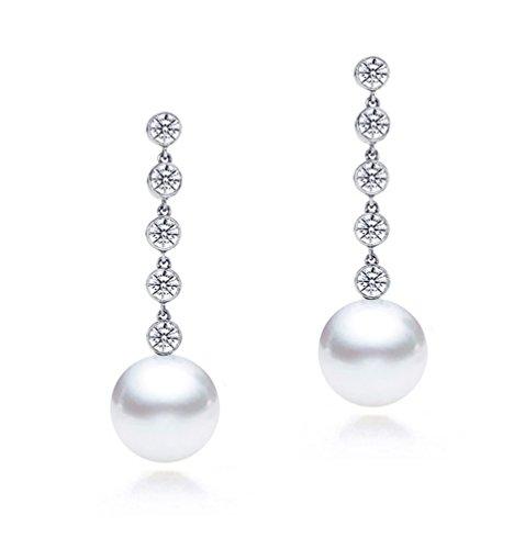 18 K oro blanco calidad AAA diamante perla cultivada Akoya japonés pendientes colgantes