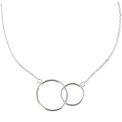 Schmuck Les Poulettes - Sterling Silber Halskette Zwei - Kreise Silber