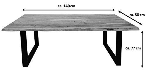 SAM® Stilvoller Esszimmertisch Quentin 140x80 cm aus Akazie-Holz, Tisch mit schwarz lackierten Beinen, Baum-Tisch mit naturbelassener Optik - 7