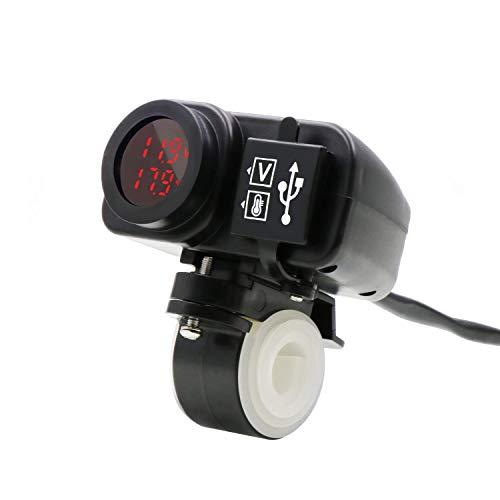 Timloon Wasserdichtes Motorrad 5V 3,1A Dual USB Ladegerät & Spannung Temperatur Anzeige Voltmeter für 7/8 und 2,5 cm Lenker Montage