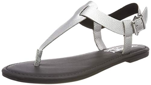 Leder Sandale Denim (Hilfiger Denim Damen Shiny METALLIC Flat Sandal Zehentrenner, Silber (Silver 000), 40 EU)