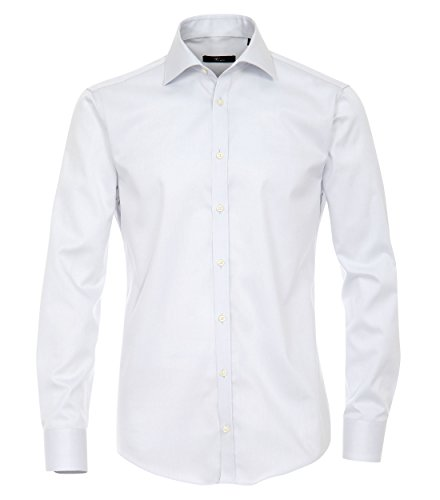 Venti Hemd Hellgrau Uni Twill Langarm Slim Fit Tailliert Kentkragen 100% Feinste Baumwolle Popeline Bügelfrei Grau
