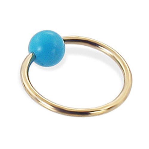 14K Gold Captive Bead Ring mit Nachahmung Türkis Ball, Gauge: 14g (1,6mm)