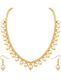 Darshini Designs Golden Alloy and Pearl Party Wear Necklace with Earrings for Women