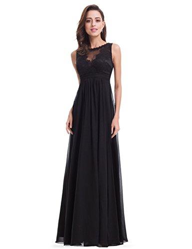 Ever Pretty Damen Rundhals Langes Abendkleid 38 Größe Schwarz
