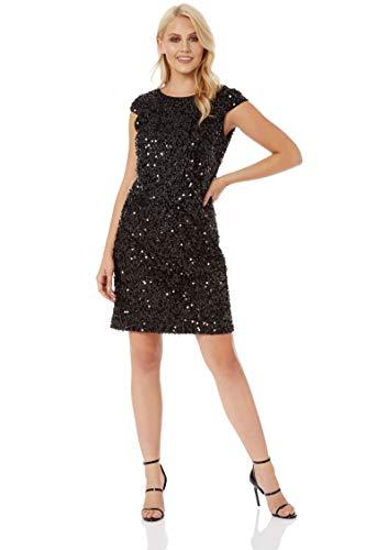 a7fb1673eaff Roman Originals Womens Sequin Tinsel Shift Little Black Dress – Ladies Christmas  Party ...