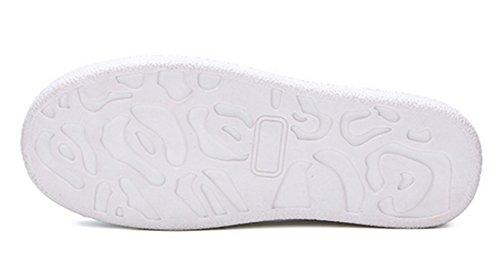 Aisun Damen Cartoon Kunstleder Rot Lippe Durchgängig Plateau Low Top Ohne Verschluss Sneakers Weiß