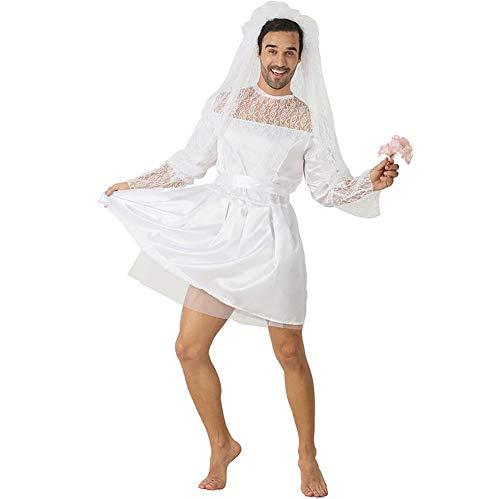 SHANGLY Männer Lustige Braut Cosplay Kostüm Für Halloween Weihnachten Karnevalsfeier Spitze Abendkleid Prom