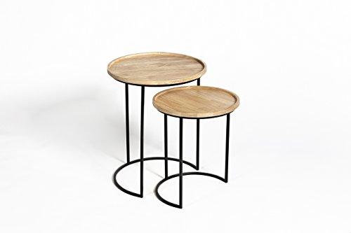 LIFA LIVING® 2er Set Beistelltisch | Vintage Kaffeetisch aus Holz und Metall in Halbmond Optik | äußerst Stabiler Couchtisch | runde und stabile Wohnzimmertische -