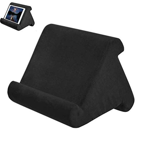 Foldable Tablet Soft Pillow Lap Holder Stand Book Rest Reading Support Cushion For iPad, Foldable Triangular, Used On Bed, Desk, Car, Sofa, Lap, Floor, Couch, Multi-Angle Soft Pillow Black