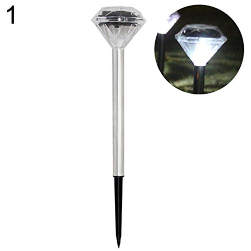 P12cheng, lampada a energia solare, lampada a led a forma di diamante, per esterni, per cortile, patio, prato, giardino classico white light