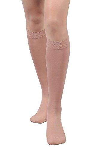 +MD Medizinische Kompressionsstrümpfe undurchsichtig 15-20 mmHg Kniehohe Stützstrümpfe gegen Schwellung, Krampfadern, Thrombose Nude M - Kniehohe Stützstrümpfe