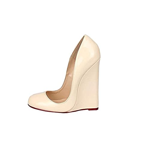 Femmes dames New Sexy Super Talon haut cale Chaussures Imperméable PU artificielle Noir rouge Automne Printemps Eté Discothèque Prom Dressy , apricot , EUR 44/ UK