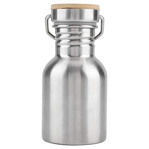 Zerodis Trinkflasche aus Edelstahl, tragbar, mit Bambus-Kappe, Reisebecher für Radfahrer, Läufer, Wanderer, Picknick, Camping 350ml -
