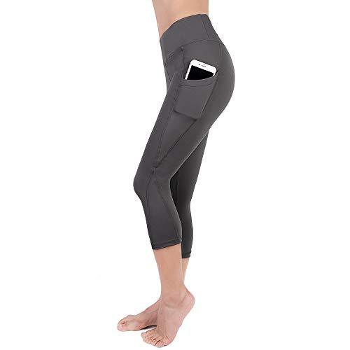 YOUCHAN Leggings Damen 3/4 Sporthose Laufhose Tights mit Taschen Hohe Taille Blickdichte für Sport Yoga-GRAU-L -