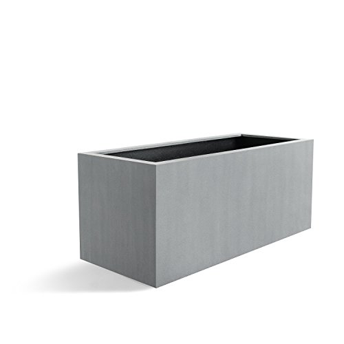"""Pflanzkasten """"Argento Box"""" Betongrau Rechteckig Fiberglas *5 Jahre Garantie* - 120x50x50cm - F965"""