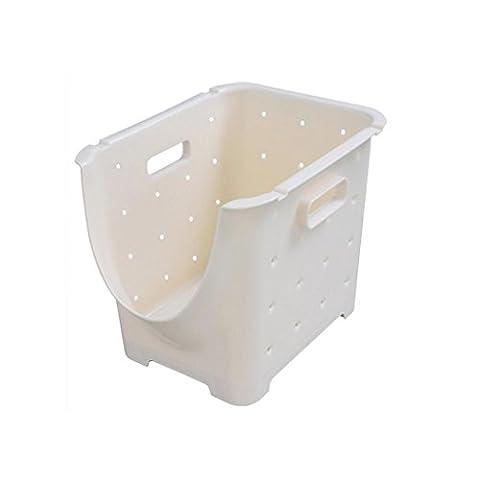 Liu Yu·kitchen home,Creative kitchen can be stacked fruit and vegetable basket white plastic storage storage basket