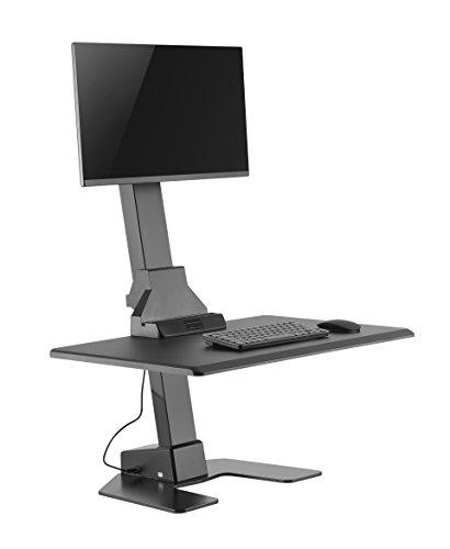 Workstation Riser (VonHaus Elektrische Single Monitor Riser | Steh-Sitz-Ergonomische Schreibtisch/Workstation | Einstellbare Höhe mit Kabel-Management | Einfache Installation)