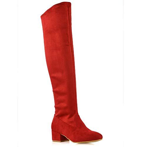 ESSEX GLAM Frauen Lange Oberschenkel Hohe Reißverschluss Schuhe Damen Rot Wildlederimitat Rund Mittelniedriger Block Absatz Overknee Dehnbare Stiefel EU ()