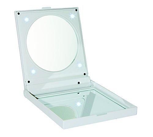 Fancy Metal Goods Folding Travel Spiegel mit LED Licht, Weiß (Grooming Folding)