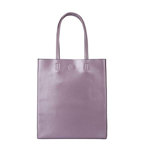 ZPFME Frauen Handtasche Rindsleder Damen Tasche Mode Mädchen Party Retro Dame Einfach Große Kapazität Mode Handtasche Einkaufstasche Purple