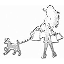 Universal-Stanzform, Schablone Carbon Stahl für Scrapbooking und dekorative Verzierungen, Junge Frau, langes Haar Shopping mit Hund Wachhund, auf führen