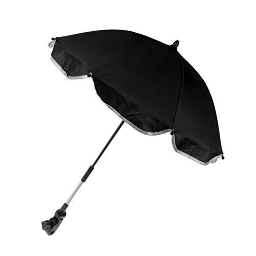 MagiDeal Premium Sonnenschirm Regenschirm für Kinderwagen Buggy Babywagen mit Universal Halterung - Schwarz, 65 cm