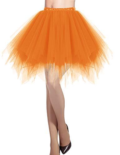 llrock 50er Rockabilly Petticoat Tutu Unterrock Kurz Ballett Tanzkleid Ballkleid Abendkleid Gelegenheit Zubehör Orange S ()